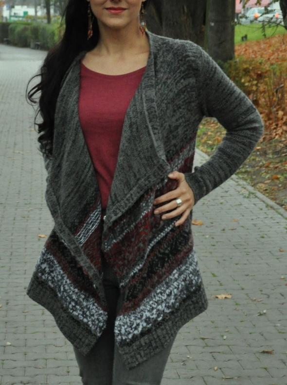 Swetry szary sweter kardigan boho