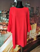 new look sukienka luźny fason czerwona blogerska 38 M...
