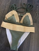 Bikini usztywniane khaki złota guma mega sexy...