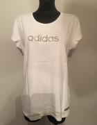 Bluzka biała Adidas L złote logo...