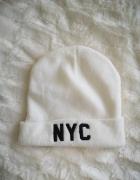 NYC Czapka beanie uniseks biała nowa...