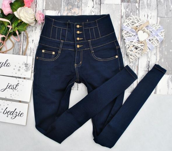 Granatowe Modelujące Spodnie Jeansy Dżinsy Rurki Wysoki Stan High Waist Kokardka Guziki M 38