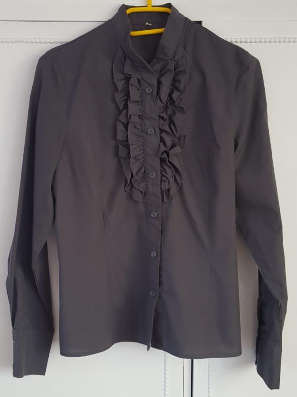 Szara elegancka koszula 40 L żabot falbany grafitowa