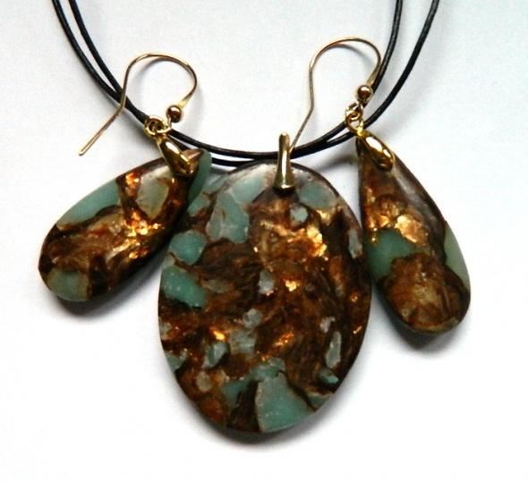 Amazonit z bornitem ekskluzywny zestaw biżuterii w złocie