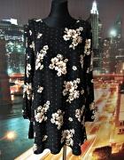 forever21 sukienka trapezowa wzór kwiaty floral zwiewna 40 L...
