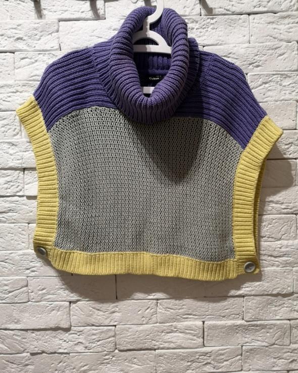 Oversize gruby sweter golf komin narzutka CUBUS ponczo S M L XL nude