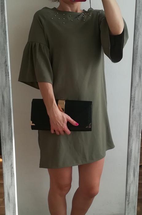 Primark zielona sukienka bufki M