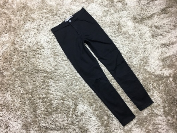 Spodnie wysoki stan dziury DenimCo