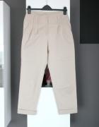 beżowe jasne beige spodnie cygaretki materiałowe bawełna bawełn...