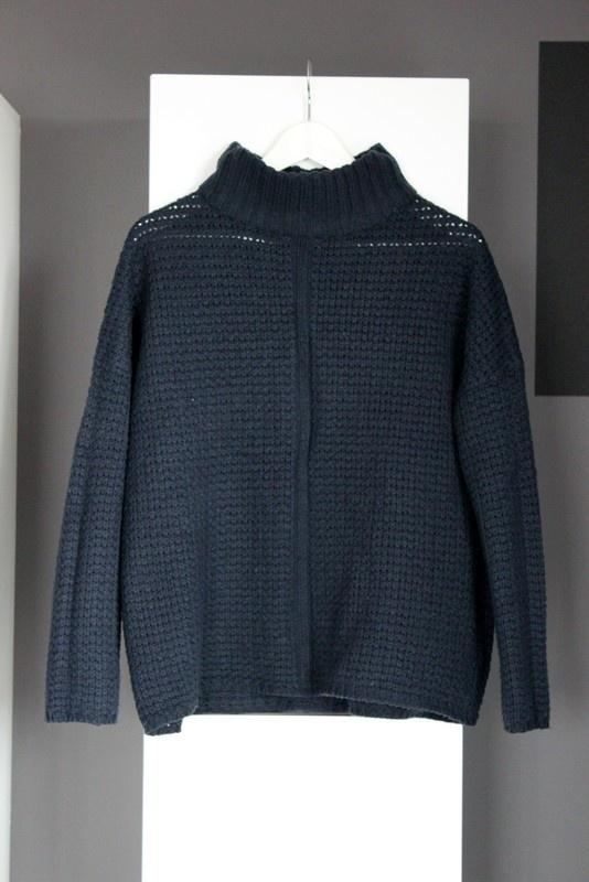 granatowy sweter na zimę ciepły cieplutki gruby mięsisty oversize luźny golf