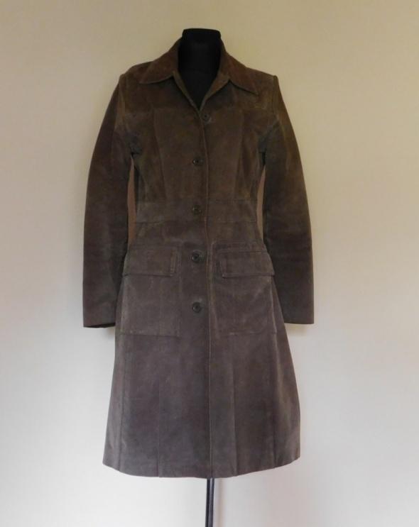 Dunnes Stores płaszcz brąz zamsz 38 40