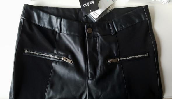 Nowe spodnie slim fit wstawki eko skóra
