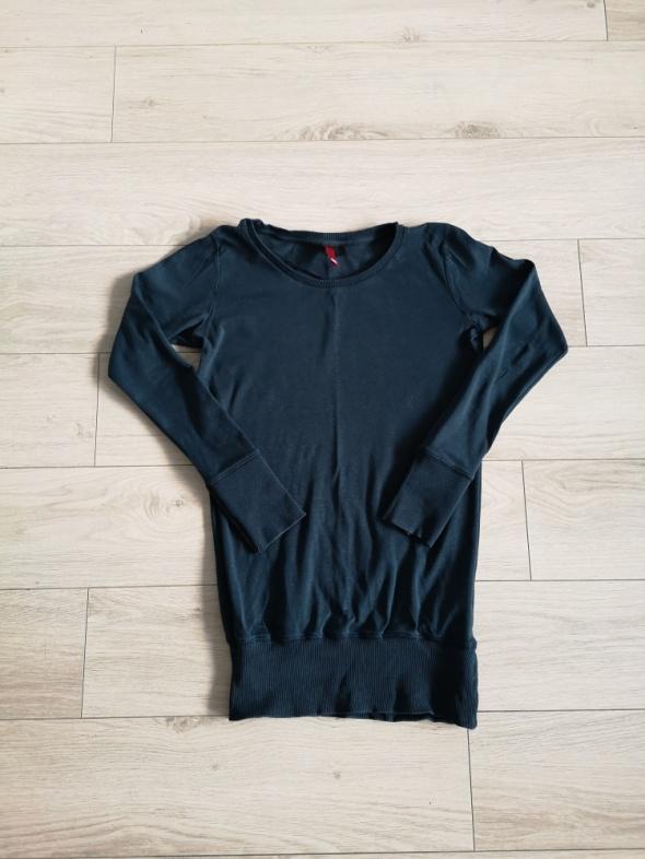 Cienka bluza H&M longsleeve XS S butelkowa zieleń morski