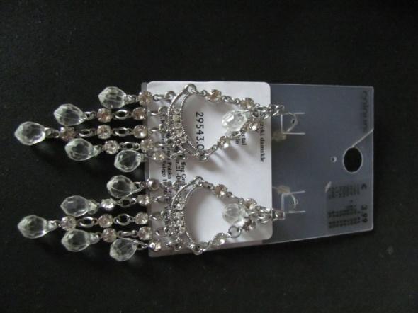 Kolczyki koronkowe diamenty srebrne ślubne świąteczne imprezowe