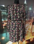 h&m sukienka mgiełka modny wzór kwiaty folklor nowa hit 32 34...