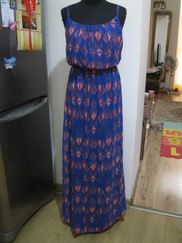 sukienka długa long NEW LOOK M niebieska