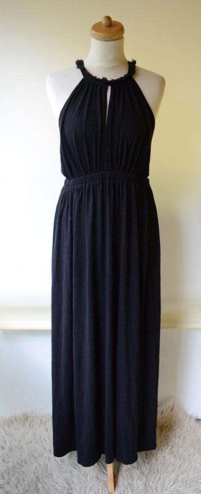 Sukienka Długa Long Czarna M 38 Chwosty H&M Maxi