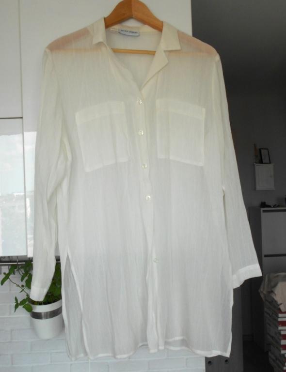 Nicole Ferrat vintage biała koszula bluzka mgiełka kieszenie oversize