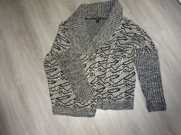 H&M sweter kardigan oversize geometryczny wzór r38
