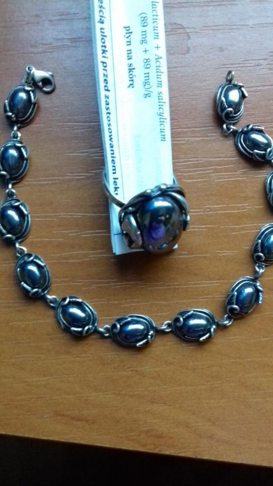 Komplety sprzedam srebrny kpl bransoletka i pierścionek