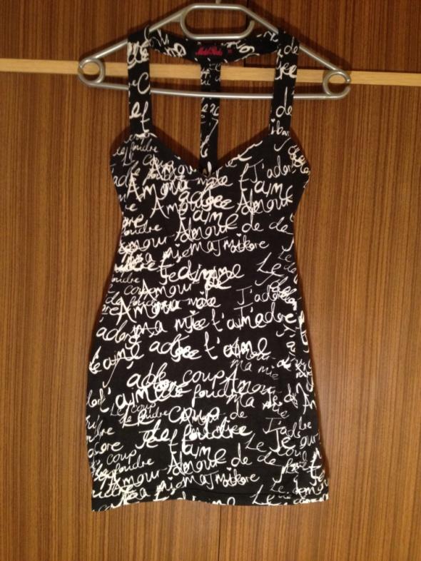 Sukienka mini uliczna w napisy czarna białe XS S 6...