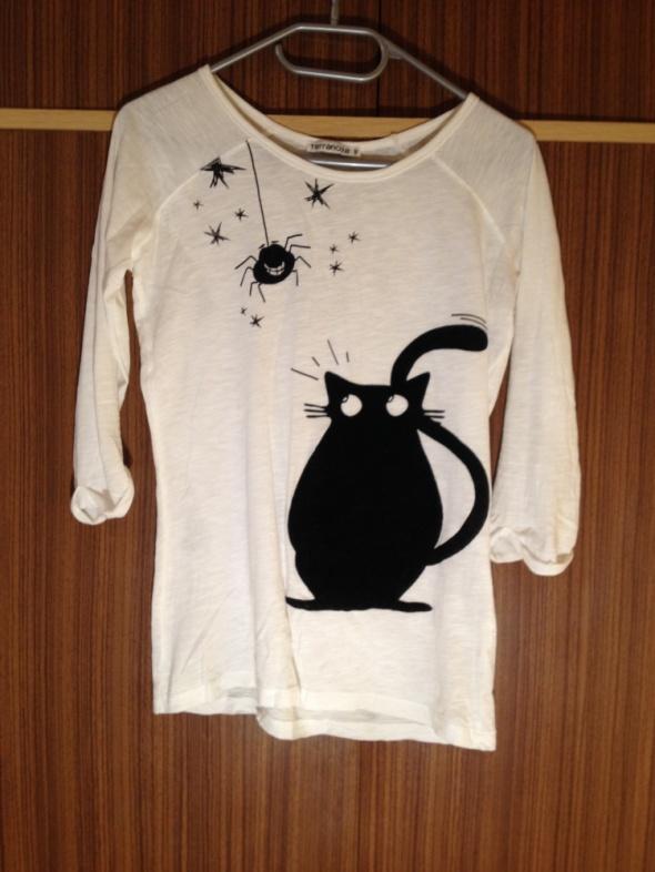 Bluzki Terranowa Bluzka z kotkiem biała czarny czarne S M