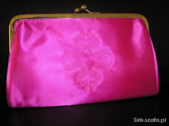 Nowa satynowa torebka kopertówka róż fuksja