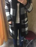 Sweter kardigan długi Sinsay XS krata
