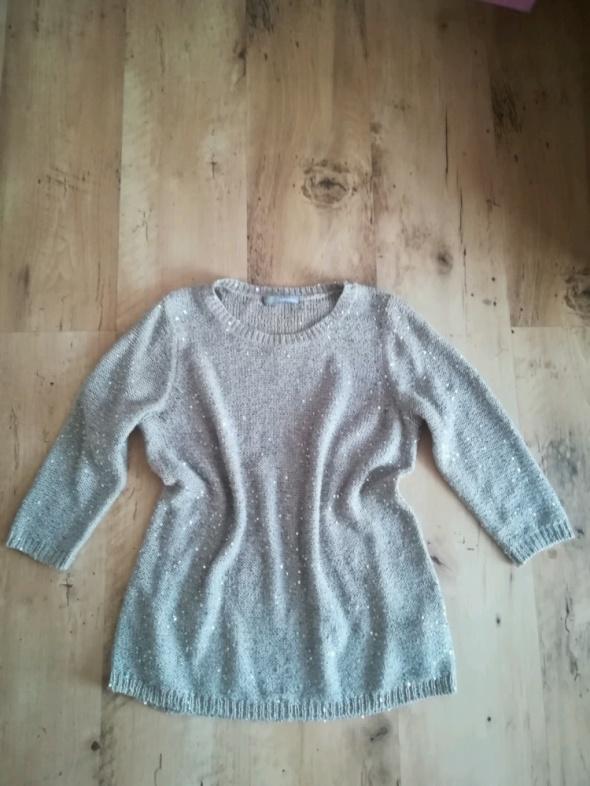 Swetry Modny bezowy sweter cekiny M
