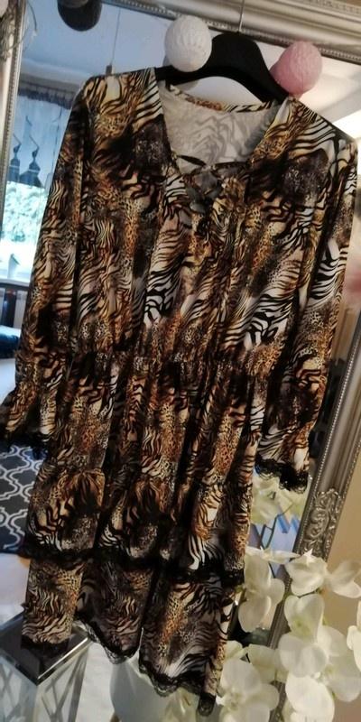 sukienka panterka koronka szyfonowa
