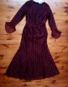 Wieczorowa bordowa suknia M L...