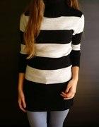 Czarno szary sweter z golfem xs 34 s 36 m 38...