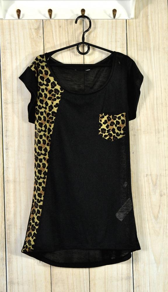 Bluzki Bluzka Koszulka Shirt Kieszonka Asymetryczny Czarny Drapieżny Panterka Cętki Animal Print Glam Rock Gothic