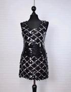 12 40 L Miso Czarna srebrna sukienka tunika na Sylwestra mała c...