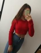 Czerwony sweter krótki cieplutki Primark crop top...
