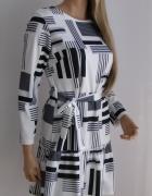 sukienka w asymetyczne paski S M falbana...