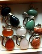 Kotek z naturalnym kamieniem uroczy wisiorek wybór koloru...