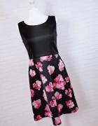 6 34 XS Cynthia Rowley Czarna sukienka fioletowe kwiaty...