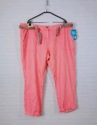 22 50 5XL Next Plus Size Różowe koralowe spodnie chinosy z pask...