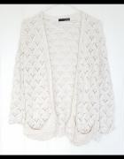 Kremowy sweter kardigan Atmosphere Primark 38 M złota nitka ret...