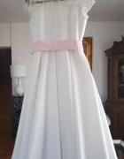 Piękna sukienka ecru z koronką jak nowa komunia...