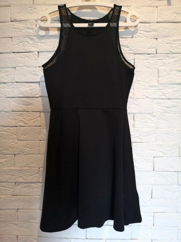 czarna sukienka S M L boho H&M lace koronka rozkloszowana