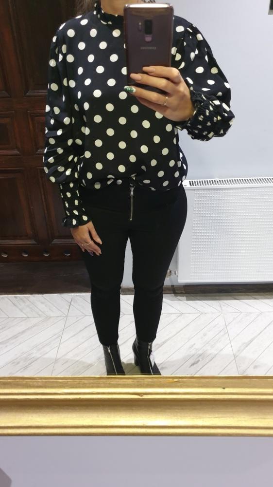 Zara Woman czarna bluzka w groszki nowa z metką L