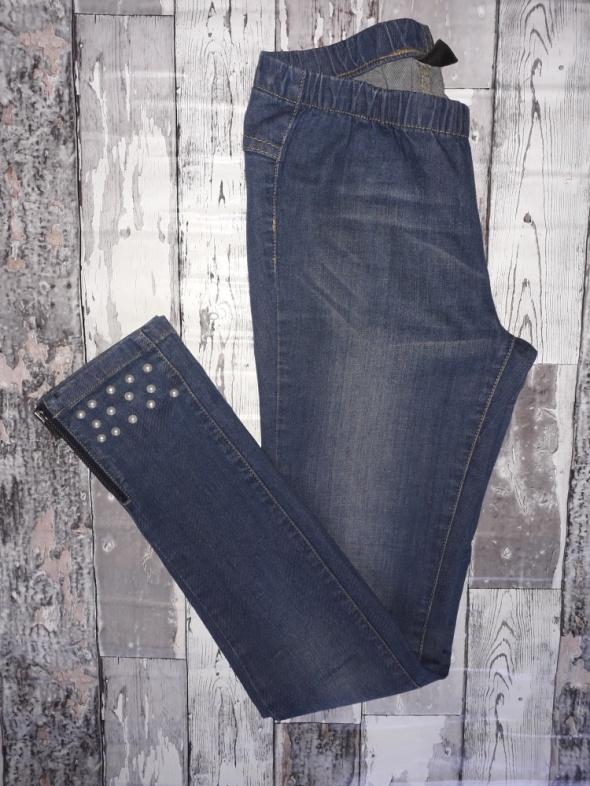Pieces spodnie z perełkami i zamkami...
