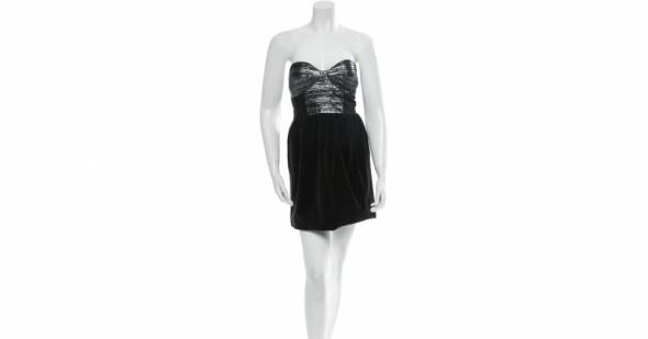sukienka czarna srebrna bez szelek