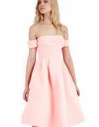 Morelowa neoprenowa rozkloszowana sukienka midi...