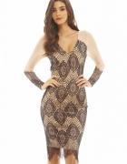 Elegancka czarna koronkowa sukienka midi