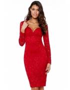 Czerwona koronkowa sukienka ołówkowa midi z długim rękawem i dekoltem