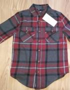 Nowa chłopięca flanelowa koszula w kratę z długim rękawem 128...