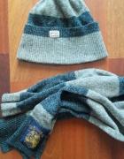 Czapka i szalik szary niebieski melanż Matinique wełniany wełna...